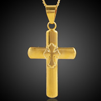 Krzyż wisiorki mosiądz, Pozłacane 18K złotem, bez zawartości ołowiu i kadmu, 23x45mm, otwór:około 3-5mm, 6komputery/torba, sprzedane przez torba