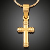 Krzyż wisiorki mosiądz, Pozłacane 18K złotem, bez zawartości ołowiu i kadmu, 10x19mm, otwór:około 3-5mm, 6komputery/torba, sprzedane przez torba