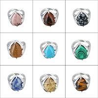 Кольца с камнями, Латунь, с Полудрагоценный камень, Каплевидная форма, Платиновое покрытие платиновым цвет, природный & различные материалы для выбора & регулируемый & Женский, не содержит никель, свинец, 20.50mm, размер:7, продается PC