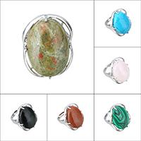 Кольца с камнями, Латунь, с Полудрагоценный камень, Плоская овальная форма, Платиновое покрытие платиновым цвет, природный & различные материалы для выбора & регулируемый & Женский, не содержит никель, свинец, 27.50mm, размер:7, продается PC