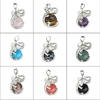 Gemstone Pendants Jewelry Brass with Gemstone Elephant platinum color plated natural   different materials for choice nickel lead   cadmium free 20x32x23mm Hole:Approx 5x8mm