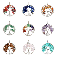 Gemstone Pendants Jewelry Iron with Gemstone Tree platinum color plated natural   different materials for choice 51x64x10mm Hole:Approx 4mm