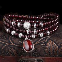 Гранат браслет, с цинковый сплав, синтетический, Январь камень & Женский & 3-нить, 5.5mm, Продан через Приблизительно 19.5 дюймовый Strand