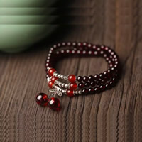 Гранат браслет, с красный агат & цинковый сплав, синтетический, Январь камень & Женский & 3-нить, 5-6mm, Продан через Приблизительно 20 дюймовый Strand