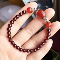 Гранат браслет, с красный агат & цинковый сплав, синтетический, Январь камень & Женский, 5.5mm, Продан через Приблизительно 6 дюймовый Strand