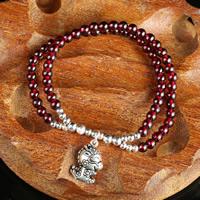 Гранат браслет, с цинковый сплав, синтетический, Январь камень & Женский & двунитевая, 4.5mm, Продан через Приблизительно 6 дюймовый Strand