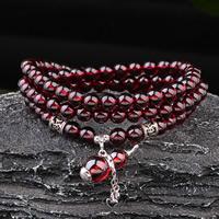 Гранат браслет, с цинковый сплав, Форма тыквы, синтетический, Январь камень & Женский & 3-нить, 5.5mm, Продан через Приблизительно 25 дюймовый Strand