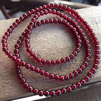 Гранат браслет, синтетический, Январь камень & Женский & 3-нить, 4-4.2mm, Продан через Приблизительно 20 дюймовый Strand