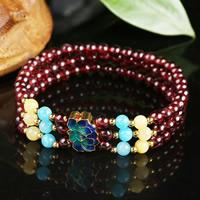 Гранат браслет, с Полудрагоценный камень & клуазоне & цинковый сплав, синтетический, Январь камень & разные стили для выбора & Женский & 3-нить, 4.5-5mm, Продан через Приблизительно 6.3 дюймовый Strand