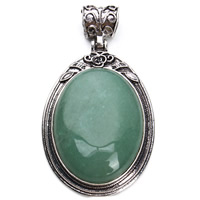 Natural Aventurine Pendants, Zinc Alloy, with Green Aventurine, Flat Oval, antique silver color plated, lead & cadmium free, 38x67mm, Hole:Approx 5x6mm, Sold By PC
