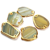 Lace Agate Connector Nuggets gold color plated 1/1 loop green 25-40mm Hole:Approx 1.5mm