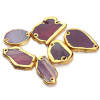 Lace Agate Connector, Nuggets, gold color plated, 1/1 loop, bright rosy red, 20-50mm, Hole:Approx 1.5mm, Sold By PC