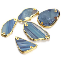 Lace Agate Connector, Nuggets, gold color plated, 1/1 loop, blue, 22-57mm, Hole:Approx 1.5mm, Sold By PC