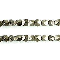 Golden Pyrite Beads, natural, faceted, 6x6x6mm, Hole:Approx 1mm, Length:Approx 16 Inch, 3Strands/Lot, Approx 65PCs/Strand, Sold By Lot