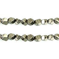 Golden Pyrite Beads, natural, faceted, 7.50x8x7mm, Hole:Approx 1mm, Length:Approx 15.5 Inch, 3Strands/Lot, Approx 54PCs/Strand, Sold By Lot