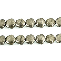 Golden Pyrite Beads, Flower, natural, 12x12x5mm, Hole:Approx 1.1mm, Length:Approx 15.5 Inch, 3Strands/Lot, Approx 34PCs/Strand, Sold By Lot