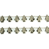 Golden Pyrite Beads, Teardrop, natural, 10x13mm, Hole:Approx 0.7mm, Length:Approx 16.5 Inch, 3Strands/Lot, Approx 30PCs/Strand, Sold By Lot