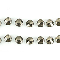 Golden Pyrite Beads, Teardrop, natural, faceted, 10x10mm, Hole:Approx 1x1.5mm, Length:Approx 16 Inch, 3Strands/Lot, Approx 33PCs/Strand, Sold By Lot