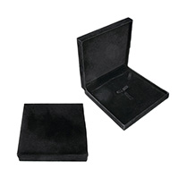 Velveteen Jewelry Set Box, finger ring & earring & necklace, with Glue Film, Square, black, 160x160x36mm, Sold By PC
