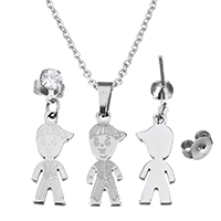 Fashion Stainless Steel Jewelry Sets, earring & necklace, Boy, oval chain & for woman & with cubic zirconia, original color, 8x18.5x1.5mm, 1.5x2x0.5mm, 27mm, 8x18.5x1.5mm, Length:Approx 17.8 Inch, Sold By Set