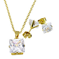 Fashion Stainless Steel Jewelry Sets, earring & necklace, Square, gold color plated, oval chain & for woman & with cubic zirconia, 10.5x13x7mm, 1.5x2x0.5mm, 8x8x15mm, Length:Approx 17.8 Inch, Sold By Set