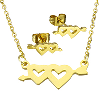 Fashion Stainless Steel Jewelry Sets, earring & necklace, Heart, gold color plated, oval chain & for woman, 22.5x11x1.5mm, 1.5x2x0.5mm, 13x5x12.5mm, Length:Approx 17.8 Inch, Sold By Set