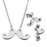 Fashion Stainless Steel Jewelry Sets, earring & necklace, Mustache, oval chain & for woman, original color, 20.5x8x1.5mm, 1.5x2x0.5mm, 13x5.5x11.5mm, Length:Approx 18 Inch, Sold By Set