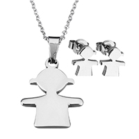 Fashion Stainless Steel Jewelry Sets, earring & necklace, Girl, oval chain & for woman, original color, 18x23x2.5mm, 1.5x2x0.5mm, 8x9x12mm, Length:Approx 17.8 Inch, Sold By Set