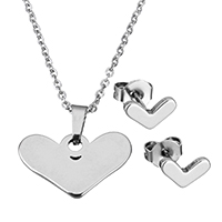 Fashion Stainless Steel Jewelry Sets, earring & necklace, Heart, oval chain & for woman, original color, 19.5x11.5x2mm, 1.5x2x0.5mm, 8x5x11.5mm, Length:Approx 17.8 Inch, Sold By Set