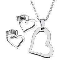 Fashion Stainless Steel Jewelry Sets, earring & necklace, Heart, oval chain & for woman, original color, 14.5x20x2mm, 1.5x2x0.5mm, 9x8x11.5mm, Length:Approx 17.8 Inch, Sold By Set