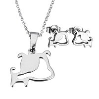 Fashion Stainless Steel Jewelry Sets, earring & necklace, Dog, oval chain & for woman, original color, 19x18.5x1.5mm, 1.5x2x0.5mm, 9x7.5x11.5mm, Length:Approx 17.8 Inch, Sold By Set
