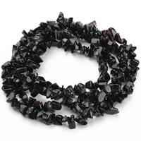 Black Stone Beads, Nuggets, 5-8mm, Gat:Ca 1.5mm, Ca 120pC's/Strand, Per verkocht Ca 31 inch Strand