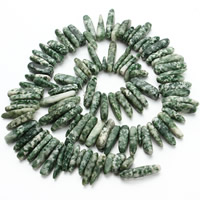 Natural Green Spot Stone Beads, Nuggets, 8-12mm, Hole:Approx 1.5mm, Approx 60PCs/Strand, Sold Per Approx 15.5 Inch Strand