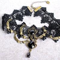 Готический ожерелье, Хлопок, с цинковый сплав & Акрил, Покрытие под бронзу старую, граненый, 33cm, Продан через Приблизительно 13 дюймовый Strand