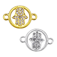 Hamsa Zinc Alloy Connector, plated, Islamic jewelry & with rhinestone & 1/1 loop, more colors for choice, nickel, lead & cadmium free, 28x19x2mm, Hole:Approx 3mm, 200PCs/Lot, Sold By Lot