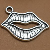 Sinkkiseos Lip riipukset, Huuli, antiikki hopea päällystetty, lyijy ja sen kadmium vapaa, 24x16mm, Reikä:N. 1.5mm, 100PC/laukku, Myymät laukku