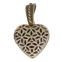 Brass Locket Pendants Heart antique bronze color plated hollow 20x23x5mm Hole:Approx 4x5mm Inner Diameter:Approx 13x10mm 10PCs/Bag