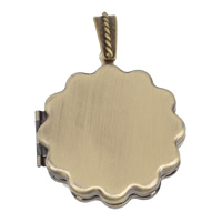 Brass Locket Pendants Flower antique bronze color plated 36x40x7mm Hole:Approx 4x5mm Inner Diameter:Approx 23mm 10PCs/Bag