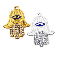 Evil Eye Pendants, Zinc Alloy, Evil Eye Hamsa, plated, Islamic jewelry & enamel & with rhinestone, more colors for choice, nickel, lead & cadmium free, 21.50x29x2mm, Hole:Approx 2mm, 100PCs/Lot, Sold By Lot