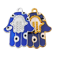Evil Eye Pendants, Zinc Alloy, Evil Eye Hamsa, plated, Islamic jewelry & enamel, more colors for choice, nickel, lead & cadmium free, 22.50x30x2mm, Hole:Approx 2mm, 100PCs/Lot, Sold By Lot
