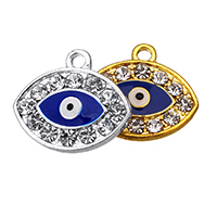 Evil Eye Pendants, Zinc Alloy, plated, enamel & with rhinestone, more colors for choice, nickel, lead & cadmium free, 19.50x17x2.50mm, Hole:Approx 2.1mm, 100PCs/Lot, Sold By Lot