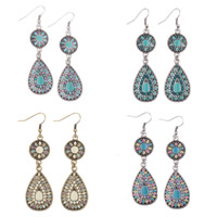 Zinc Alloy Drop Earring, with Resin, plated, folk style & enamel, more colors for choice, nickel, lead & cadmium free, 50mm, Sold By Pair