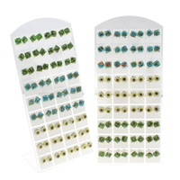 Millefiori Glass Stud Earring, stainless steel post pin, Square, mixed colors, 8x3mm, 36Pairs/Bag, Sold By Bag
