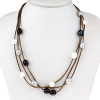 Природное пресноводное жемчужное ожерелье, Пресноводные жемчуги, с Вощеная Конопля шнура, латунь Замок-карабин, натуральный, 3-нить, 9-10mm, Продан через Приблизительно 19 дюймовый Strand