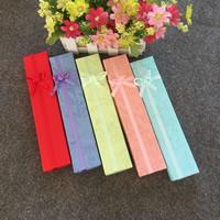 Papier Pudełko na naszyjniki, Prostokąt, z motywem kokardki, mieszane kolory, 210x40x30mm, 100komputery/wiele, sprzedane przez wiele