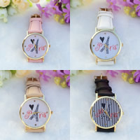 Women Wrist Watch, PU, with zinc alloy dial & Glass, plated, with heart pattern & adjustable & with letter pattern & for woman, more colors for choice, nickel, lead & cadmium free, 35mm, 20mm, Length:Approx 9.5 Inch, Sold By PC