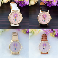 Women Wrist Watch, PU, with zinc alloy dial & Glass, plated, adjustable & for woman, more colors for choice, nickel, lead & cadmium free, 35mm, 20mm, Length:Approx 9.5 Inch, Sold By PC