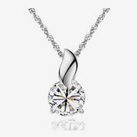 Австрийских кристаллов ожерелья, Латунь, с Австрийский хрусталь, покрытый платиной, граненый, не содержит никель, свинец, 7.5x15.5mm, Продан через Приблизительно 17.5 дюймовый Strand