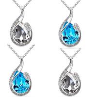 Австрийских кристаллов ожерелья, цинковый сплав, с железный цепи & Австрийский хрусталь, Каплевидная форма, покрытый платиной, Бар цепи & граненый & со стразами, Много цветов для выбора, не содержит свинец и кадмий, 31x17mm, Продан через Приблизительно 17.5 дюймовый Strand