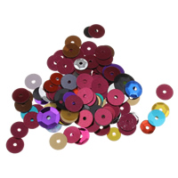 Plastic Sequin Beads, 6mm, Hole:Approx 1mm, Sold By Bag